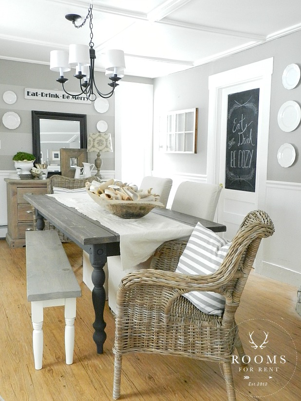 Love this gray dining room and the striped wall kellyelko.com