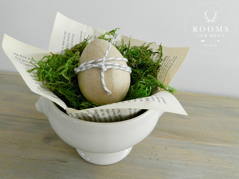 Easter egg with moss