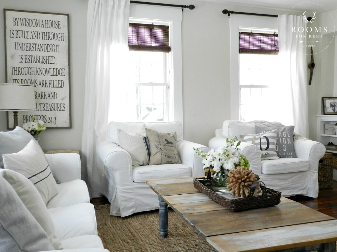 Coordinating paint colors city farmhouse - White walls living room ...