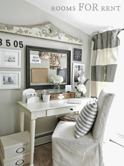 Love this home office nook with the fun gallery wall kellyelko.com