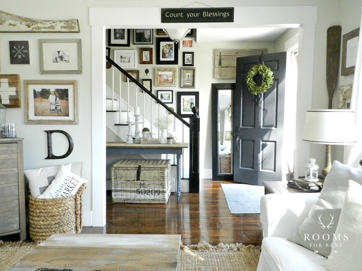 Coordinating paint colors city farmhouse for Living room gallery wall