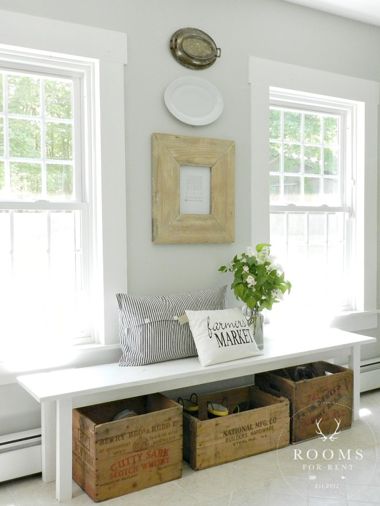 Love this farmhouse bench with crate storage for shoes kellyelko.com