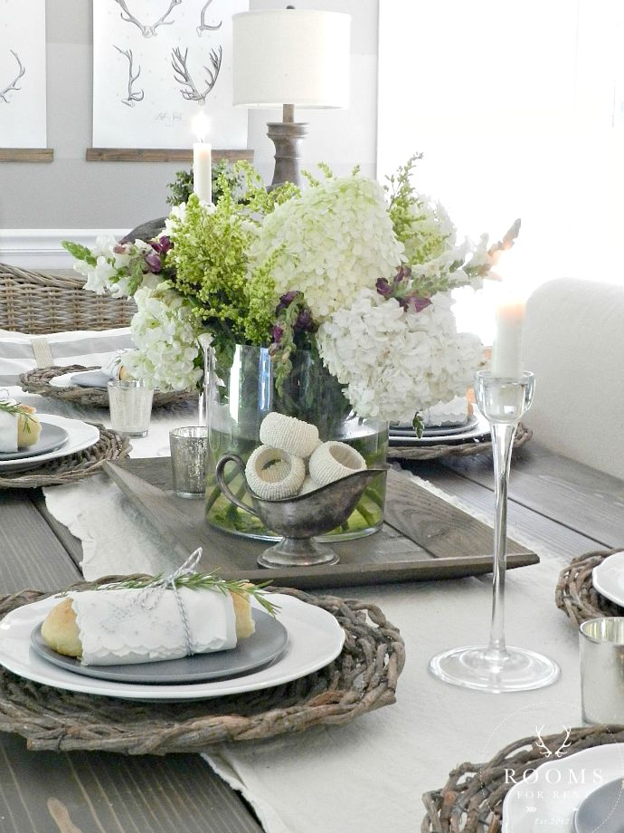 Farmhouse Table, rustic twig chargers | Rooms FOR Rent Blog