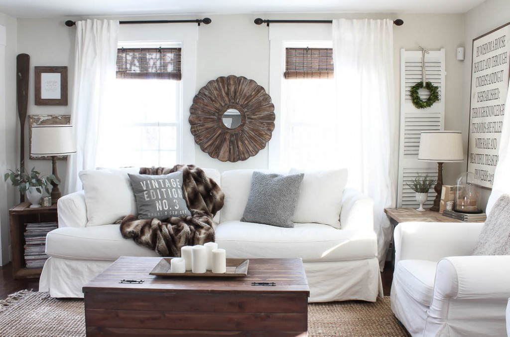 White Slip Covered Sofa Rooms For Blog
