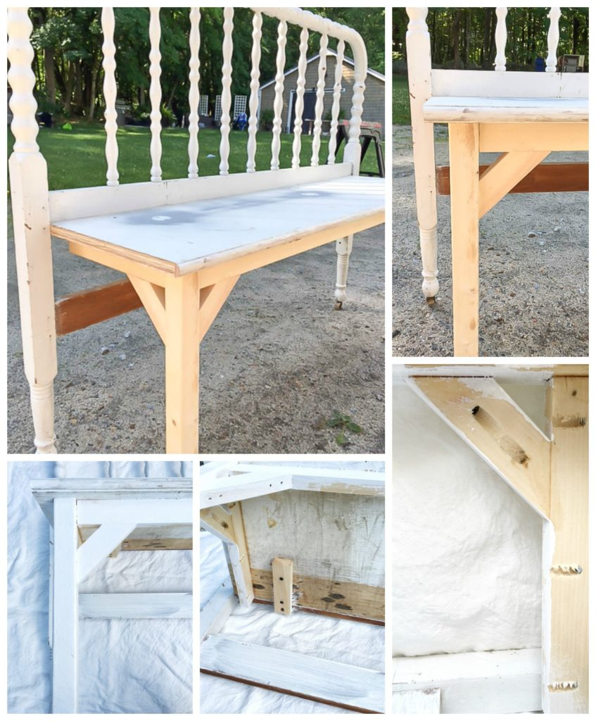 Antique Headboard Bench: DIY Antique Headboard Bench