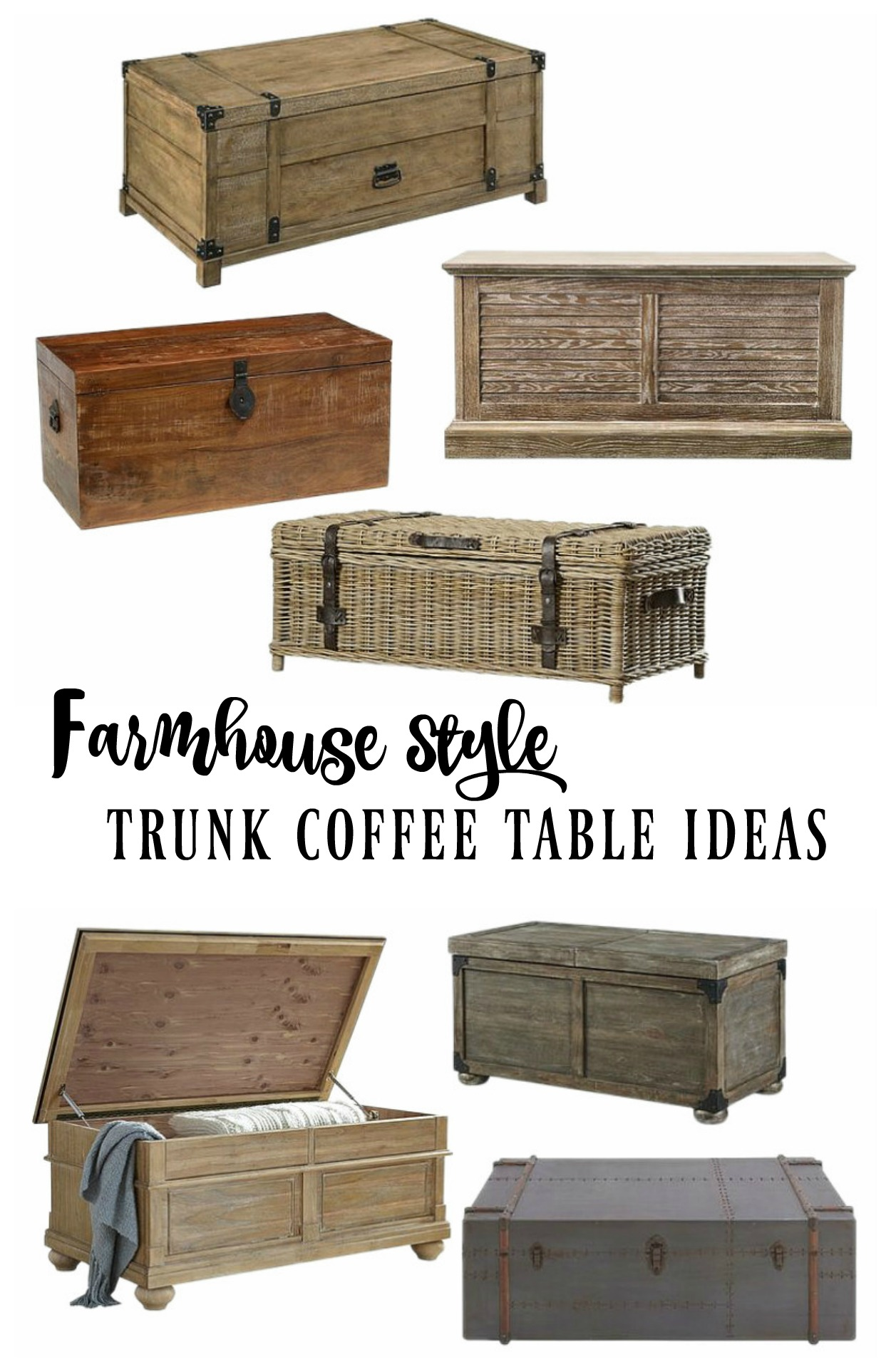 farmhouse style wooden trunk coffee table ideas rooms for rent blog. Black Bedroom Furniture Sets. Home Design Ideas