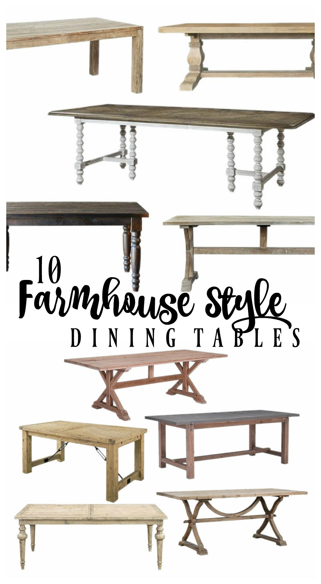 10 farmhouse style dining tables rooms for rent blog for Styling dining room table