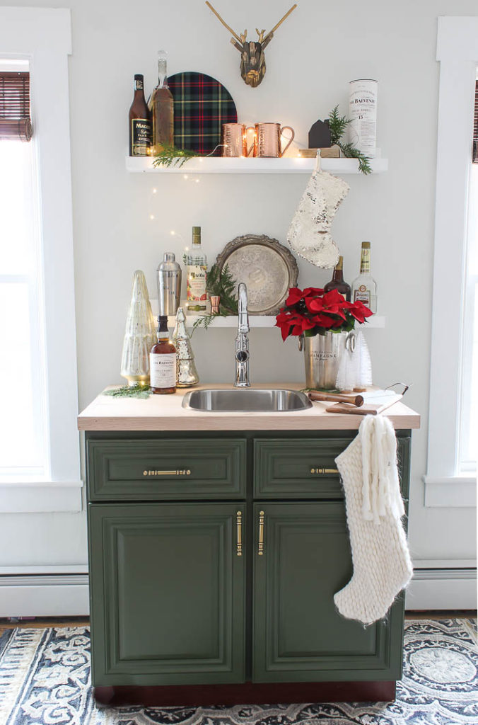 wet bar painted with valspar boughs of pine